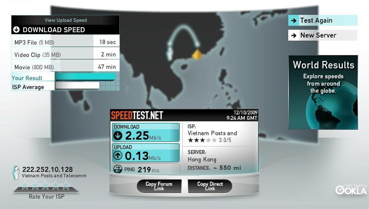 Kiểm tra chất lượng đường truyền Internet với Pingtest.net