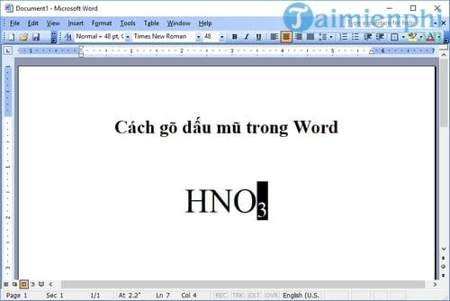 Phím tắt viết mũ trong Word
