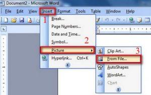 Chèn ảnh vào trong Word 2003