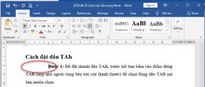 Cách đặt dấu TAB trong Word